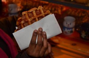 Having a waffle in Brussels, Belgium.