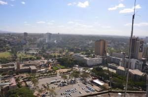 An aerial view of Nairobi from the K.I.C.C