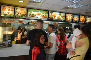 Waiting in line at McDonalds, Brasov.