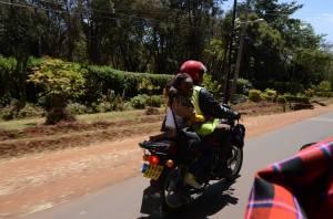At the back of a motorbike, Karen, Kenya.